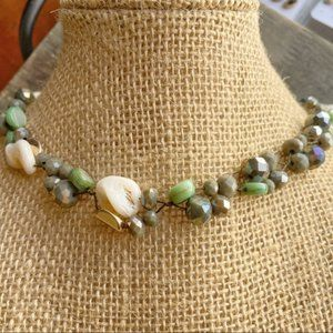 GOLD JADE AGATHAS STATEMENT CHOKER NECKLACE